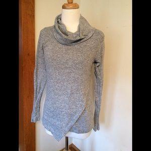 Loveappella asymmetric hem cowl neck sweater